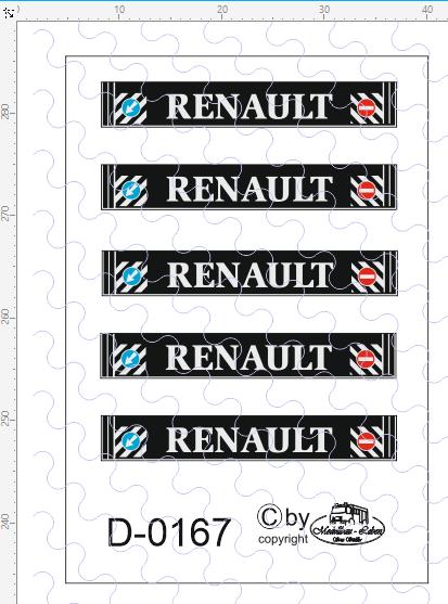D-0167 - Decalsatz Renault Schmutzlappen 5 Stück 1:87