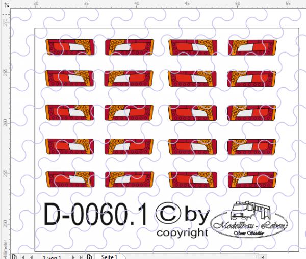 D-0060.1 Rückleuchten LED - Decalsatz 10 Paar 1:87