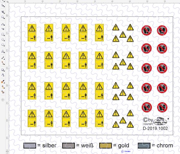 D-2019.1002 Decalsatz Warnschilder - verschiedene Größen 50 Stk - 1:50