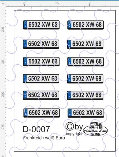 D-0007 Kennzeichen Frankreich - Euro Nummernschild weiß 12 Stück - 1:87 Decal