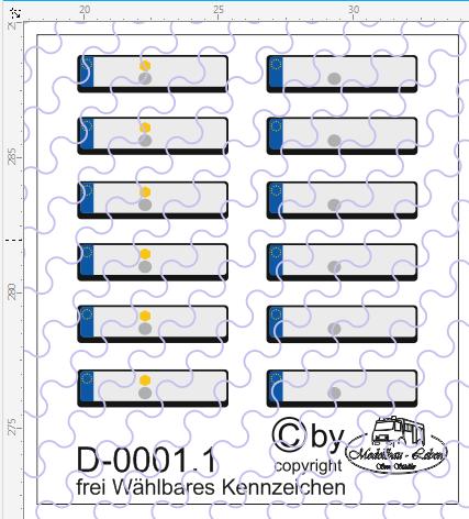D-0001.1 Frei wählbare Wunsch Kennzeichen 12 Stück - 1:87 Decal