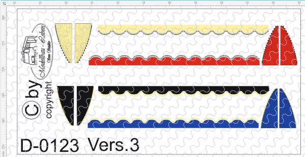 D-0123.3 Gardinen Decalsatz Version 3 - 4 Stück 1:87