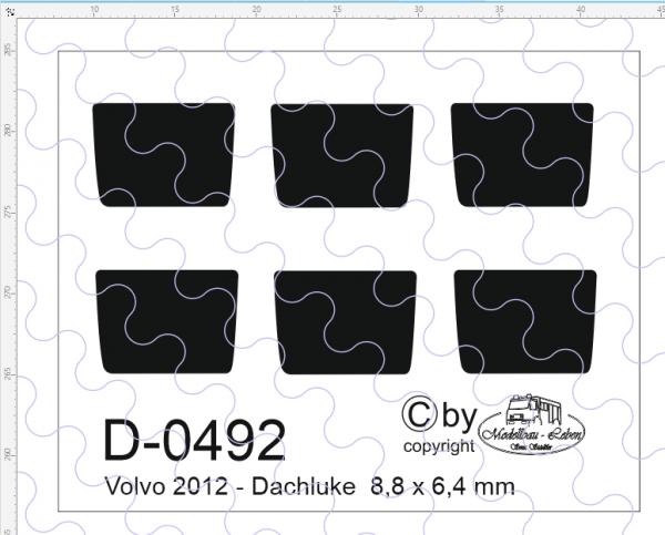 D-0492 - Decalsatz Volvo 2012 Dachluke 6 Stk. 1:87