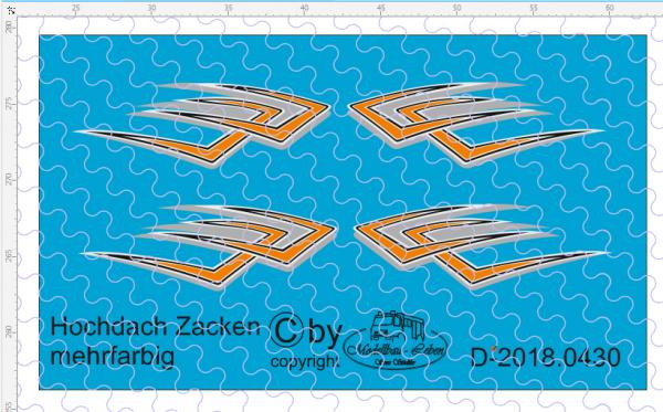 D-2018.0430 Hochdach Zacken - Bummerang - mehrfarbig 2 Paar 1:87