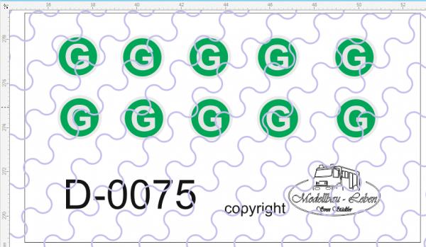 D-0075 G-Schild - Decalsatz 10 Stück 1:87