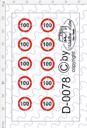 D-0078 Begrenzungsschild 100km/h 10 Stück Decalsatz 1:87