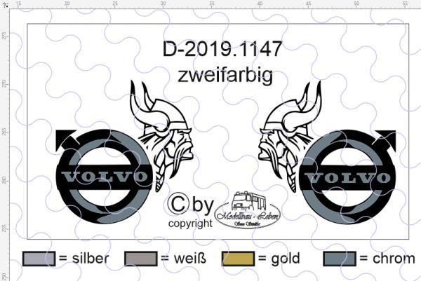 """D-2019.1147 - Decalsatz Volvo für Fahrhaus Seiten Volvo FH """"Wikingerkopf+ Volvo Logo """" zwe"""