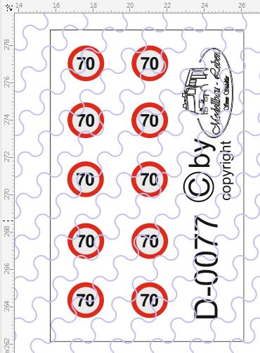 D-0077 Begrenzungsschild 70km/h 10 Stück Decalsatz 1:87
