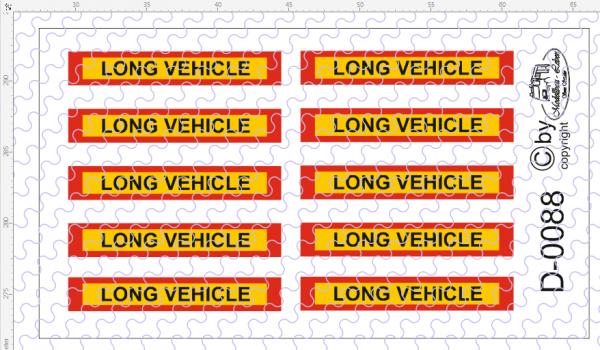 D-0088 Long Vehicle Schilder 10 Stück Decalsatz 1:87
