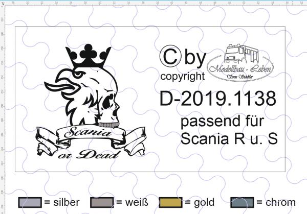 "D-2019.1138 - Decalsatz Scania R oder S für Fahrhaus Rückwand ""Scania or Dead"" Vers. 2 - 1"