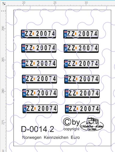 D-0014.2 Kennzeichen Norwegen-Nummernschild Euro 12 Stück - 1:87 Decal