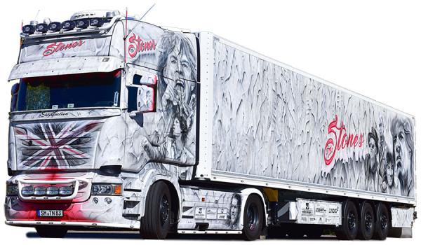 """Herpa 121958 Scania R TL Koffer-Sattelzug """"The Stones"""" (Thüringen / Schmalkalden)"""