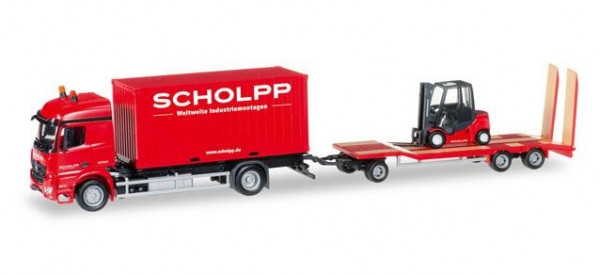 Herpa 306232 Scholpp LKW Modell Mercedes-Benz Arocs Container-LKW mit TU3 und Gabelstapler