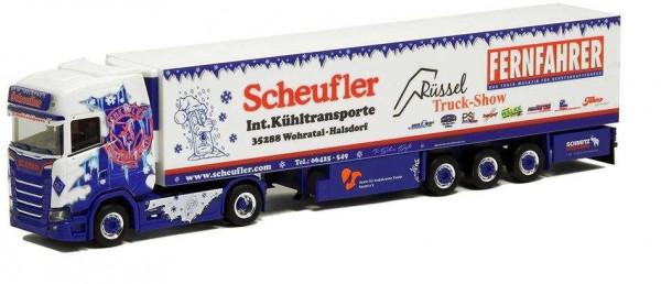 Herpa 936781 Scheufler Sommerfest Modell Scania CS mit Kühlkoffer 1:;87