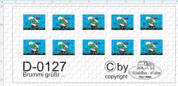 D-0127 Brummi - grüßt Schild klein - Decalsatz 10 Stück 1:87