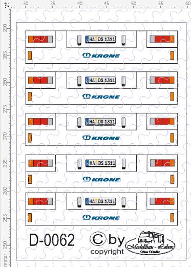 D-0062 Rückleuchten Heck Krone - Decalsatz 5 Stück 1:87