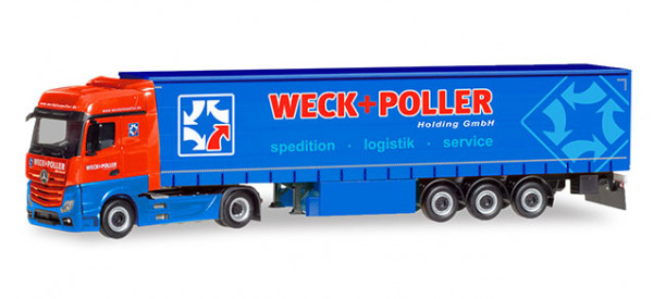 """Herpa 310314 Mercedes-Benz Actros Bigspace Gardinenplanen-Sattelzug """"Weck + Poller"""" (Sachs"""
