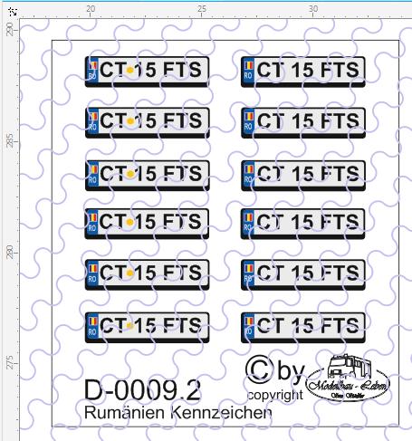 D-0009.2 Kennzeichen Rumänien-Nummernschild Euro 12 Stück - 1:87 Decal