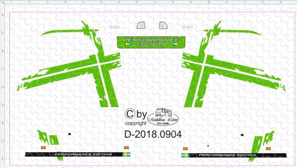 D-2018.0904 - Decalsatz Volvo Fahrerhaus Performance Design in Wunschfarbe 1 Satz 1:87