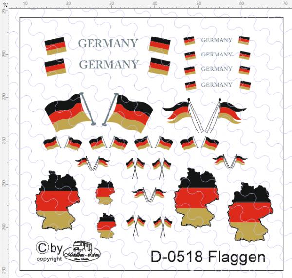D-0518 Flaggenset Deutschland - 1 Satz 1:87