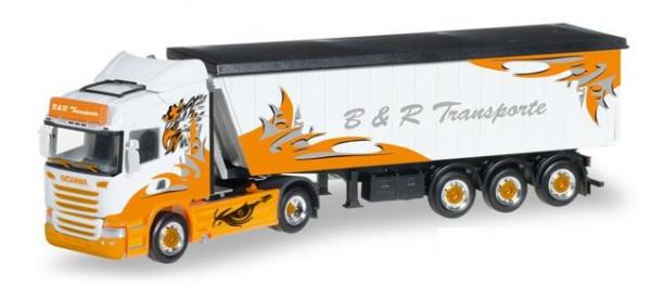 Herpa 306287 B&R Transporte / Arrow Hunter LKW Modell Scania R HL Stöffelliner-Sattelzug