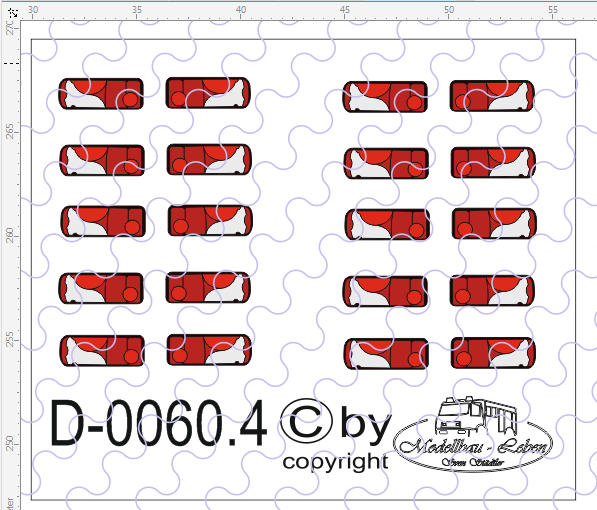 D-0060.4 Rückleuchten LED - Decalsatz 10 Paar 1:87