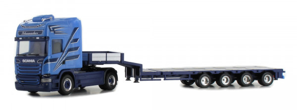 "Herpa 934916 Scania R TL 2013 Semitiefladesattelzug ""Schumacher"" LKW-Modell im Maßstab 1:8"