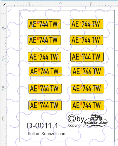 D-0011.1 Kennzeichen Italien-Nummernschild 12 Stück - 1:87 Decal