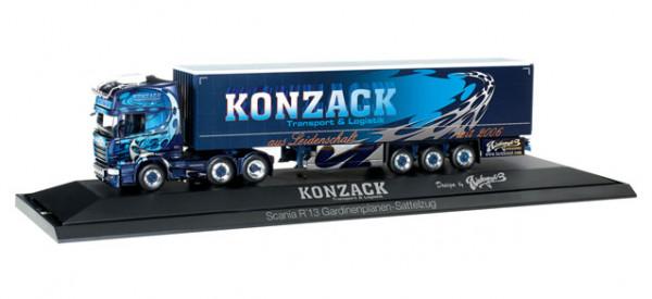 """Herpa 121750 Scania R TL Gardinenplanen-Sattelzug """"Konzack"""""""