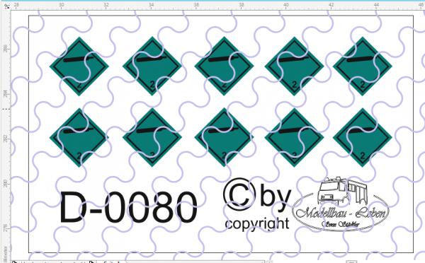D-0080 Warntafel 2 - Gase Decalsatz 10 Stück 1:87