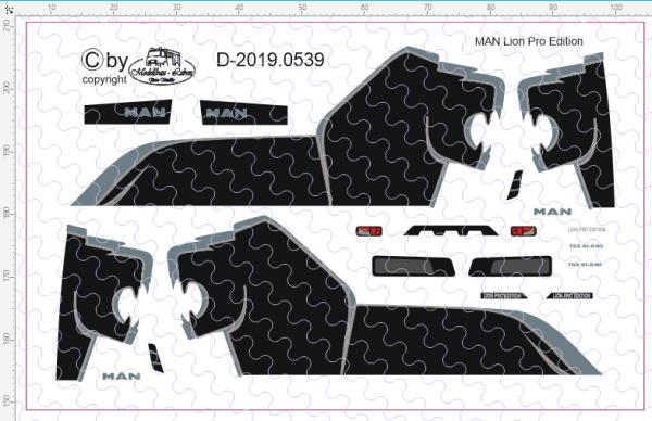 D-2019.0539 - Decalsatz MAN Loin Zugmaschine und Auflieger schwarz - 1 Stk - 1:87