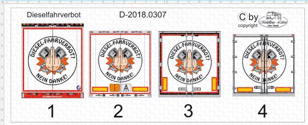 D-2018.0307 Dieselfahrverbot Heck Decalsatz 1 Stück 1:87