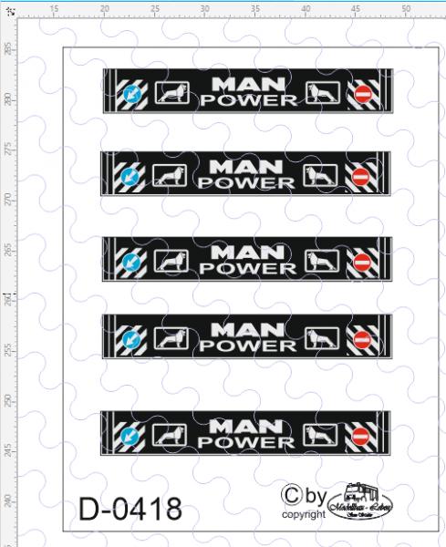D-0418 - Decalsatz MAN Power Schmutzlappen 5 Stück - 1:87