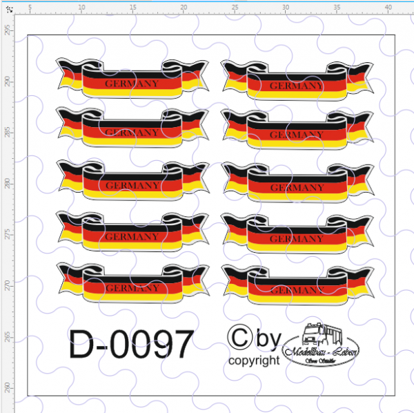 D-0097 Banner Germany, passend für Trailerheck 10 Stück 1:87