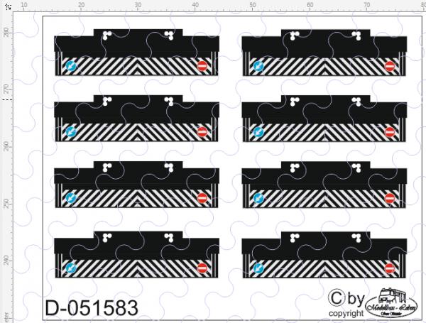 D-0515.83 auf Poly gedruckte Heckschmutzlappen 8 Stück 1:87