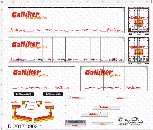 D-2017.0902.1 Galliker Footlogistik Gigaliner Decalsatz 1 Stück - 1:87 Decal