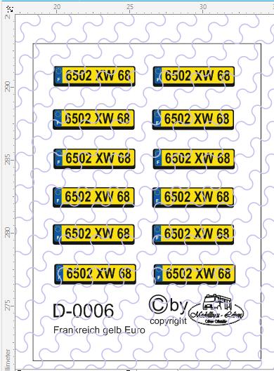 D-0006 Kennzeichen Frankreich - Euro Nummernschild gelb 12 Stück - 1:87 Decal