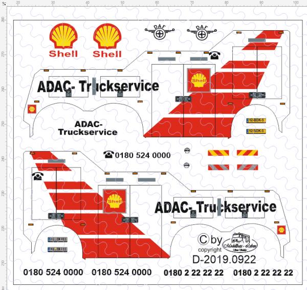 D-2019.0922 - Decalsatz ADAC Truckservice Shell Wrecker für Herpa 1:87