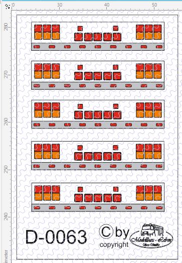 D-0063 Rücklicht Nr. 3 - Decalsatz 5 Stück 1:87