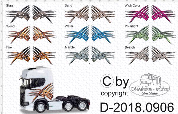 D-2018.0906 - Decalsatz Scania S FH Seitendecor in versch. Farben 1 Satz 1:87