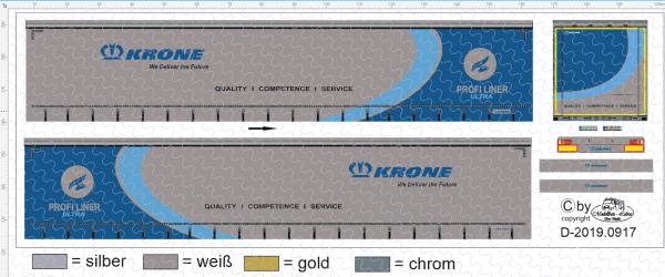 D-2019.0917 Krone Profi Liner Ultra Decalsatz für Herpa 1:87