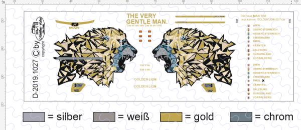 D-2019.1027 - Decalsatz Golden Lion für MAN TGE Transporter 1:87 - 1 Satz