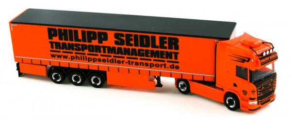 "Herpa 926744 Scania R 13 TL Gardinenplanen-Sattelzug ""Philipp Seidler"" ,NEU+OVP"
