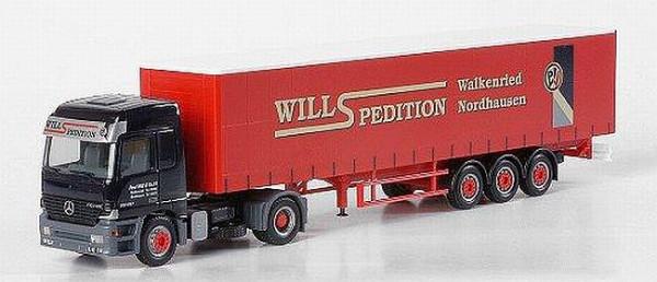 """Herpa 149327 Mercedes-Benz Actros L Gardinenplanen-Sattelzug """"Spedition Will"""""""