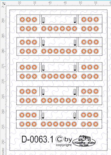 D-0063.1 Rückleuchten Heck LED - Decalsatz 5 Stück 1:87