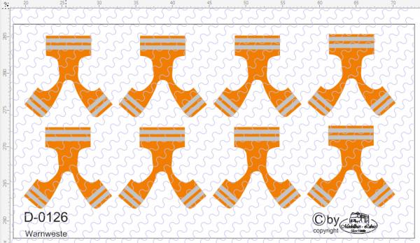 D-0126 Warnweste orange 1 Decalsatz 8 Stück 1:87