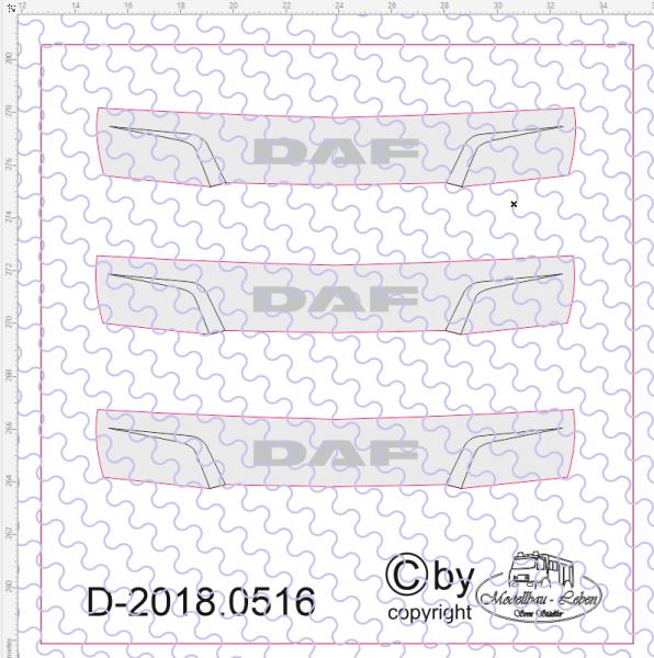 D-2018.0516 - Decalsatz DAF Frontblende Kühlergrill 3 Stück 1:87