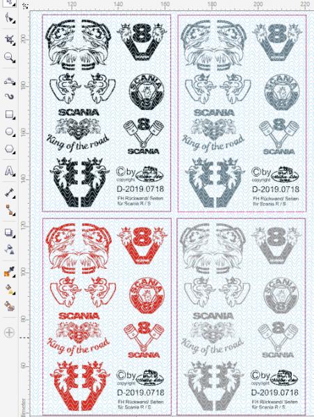 D-2019.0718 - Decalsatz Scania verschiedene Embleme für Zugmaschinen Rückwand u.Seiten - 7 Motive 1: