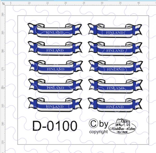 D-0100 Banner Finland, passend für Trailerheck 10 Stück 1:87
