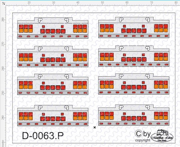 D-0063.P auf Poly gedrucktes Rücklicht Nr. 3 - Satz 8 Stück 1:87